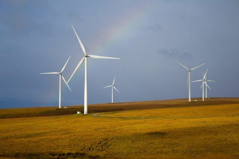 windmills, rainbow, fields